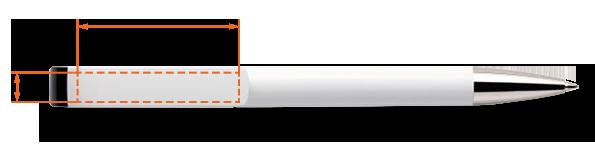 pole zadruku na długopisie